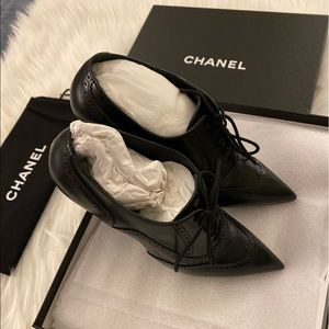 New CHANEL Calfskin Leather CC Lace Up Booties 37